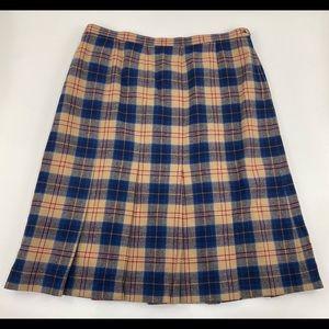 Vtg Pendleton pleated plaid wool skirt 22W 2X 3X